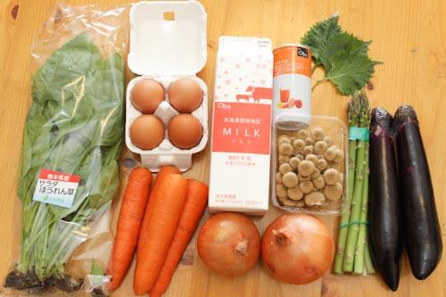 オイシックスの野菜、果物、牛乳、卵
