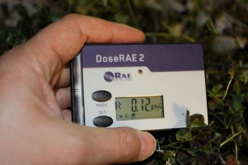 放射線線量計 DoseRAE2 PRM-1200でリアルタイムの放射線線量率を測定 外の慣用植物にて